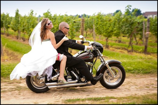 This motorcycle-loving couple made their wedding memories unique.