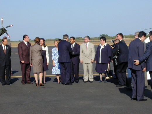The receiving line at the base of Air Force One