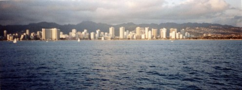 The view of Waikiki Beach from a boat cruise.