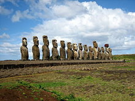 The Moai Monuments on Easter Island in the South Pacific