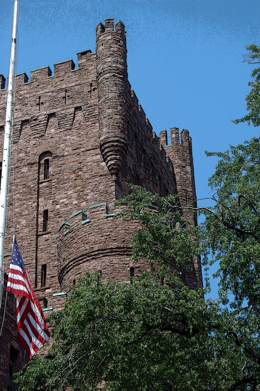 View of main tower, Connecticut Street Armory, Buffalo, New York