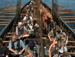 Rowing in - the crew at the oars, edging in to the haven