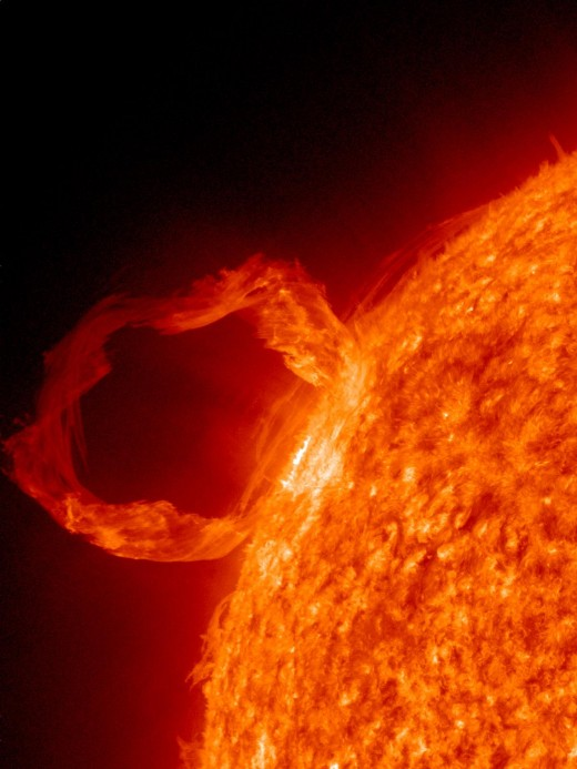 A solar flare.  Frightening, but still beautiful!