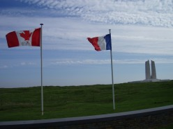 Canadian and French flags at the Vimy Memorial, on Vimy Ridge, France.