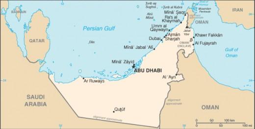 Map of the United Arab Emirates