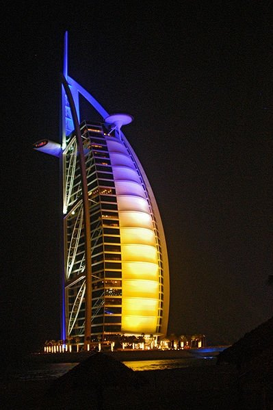 Burj Al Arab lit up at night time