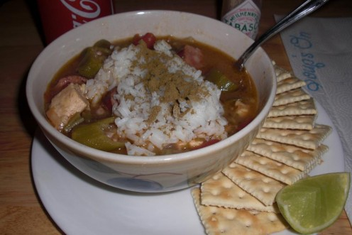 This is another batch of my chicken and andouille sausage gumbo that I made on a different occasion.
