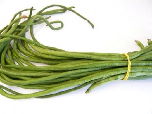 Chinese long beans (yard long bean/snake bean or kacang panjang)