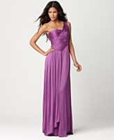 BCBGMAXAZRIA pleated one shoulder gown in purple
