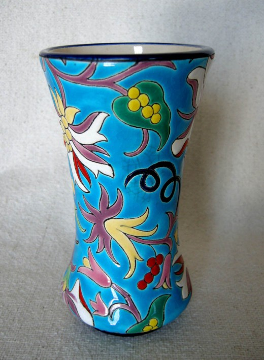 Longwy vase with floral motif