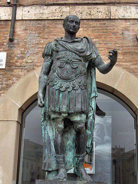 A statue of Julius Caesar in Rimini, Italy