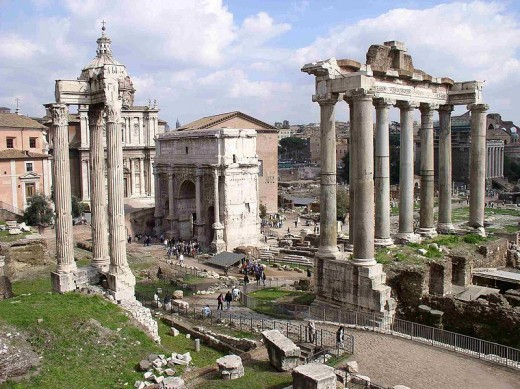 The Roman Forum in the present day. Incidentally it is the oldest part of Rome that is still recognisble.