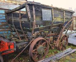 Chaldron wagon in lamentable state of disrepair - what it does show well is the strapping and brake lever (see over rear wheel), even in this rusted condition - see below for a larger view of a restored chaldron wagon at 'Head of Steam', Darlington
