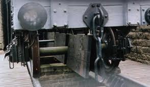 Close-up of steel coupling hook on a NER wood-built coal hopper - Masham's restored coal depot, near Ripon in North Yorkshire