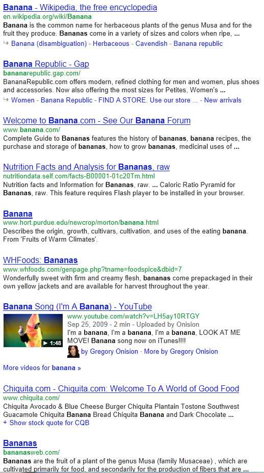 "Standard Google search for the keyword ""banana"""