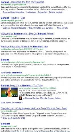 "Standard Google search for the keyword ""banana"""