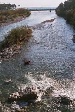 The Roia River at the Italian city of Ventimiglia in Liguria