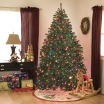 A Prelit Multi Light 7.5 Foot Noble Pine Artificial Christmas Tree