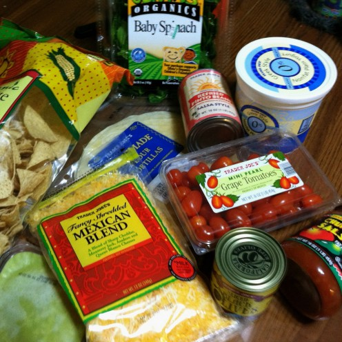 Deluxe edition: ingredients for refried bean burritos