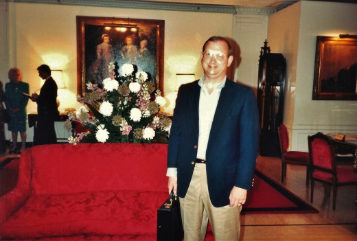 My hubby in the lobby of the Huntington Hotel.