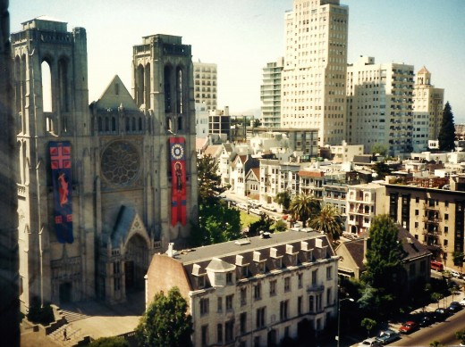 View of Grace Cathedral from our room at the Huntington Hotel in San Francisco.