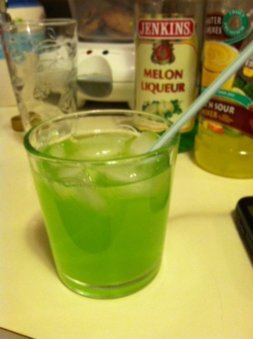 Midori Sour's for St. Patty's Day.