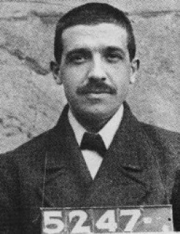 The mugshot of Mr. Charles Ponzi, the criminal genius who invented the Ponzi Pyramid Scheme, and patron saint to unethical printers around the world.