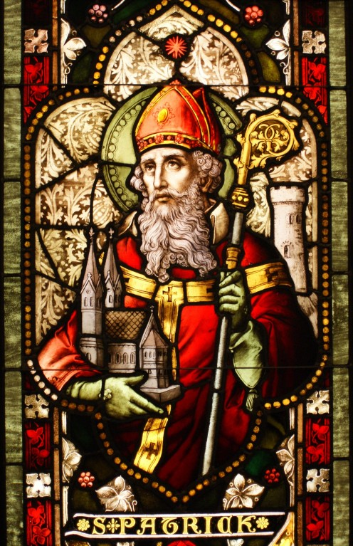 St.Patrick's image on glass window