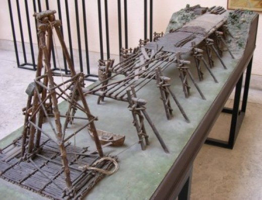 A model of the bridge Caesar had built to cross the Rhine.