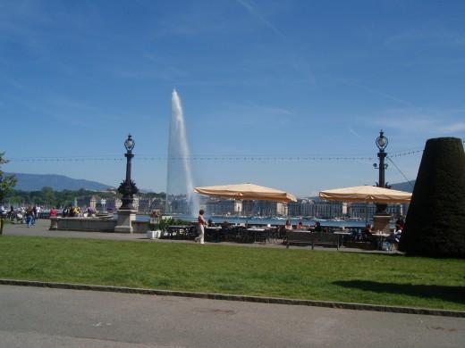 Tourists and Shops around Lake Geneva
