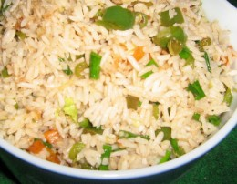 Chine fired rice with peppers