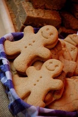 Two Gingerbread Men in a Basket of Cookies