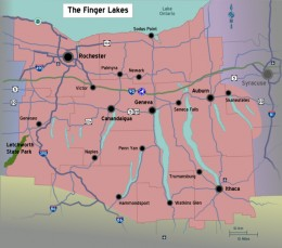 The Finger Lakes in central New York. Penn Yan, where I was born, is at the northern tip of Keuka Lake.