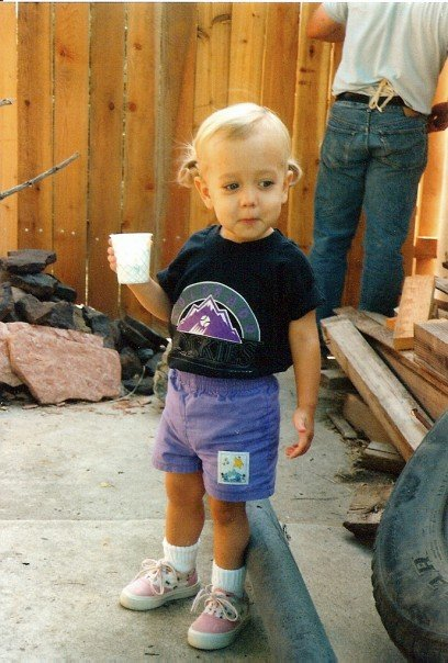 Here's little Me in my sports fan gear. Not a sparkle in sight.