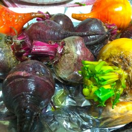 Drizzle beets with a bit of olive oil & sprinkle some additional water on top, so they don't dry out while roasting.
