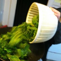 Add beet greens to pan.