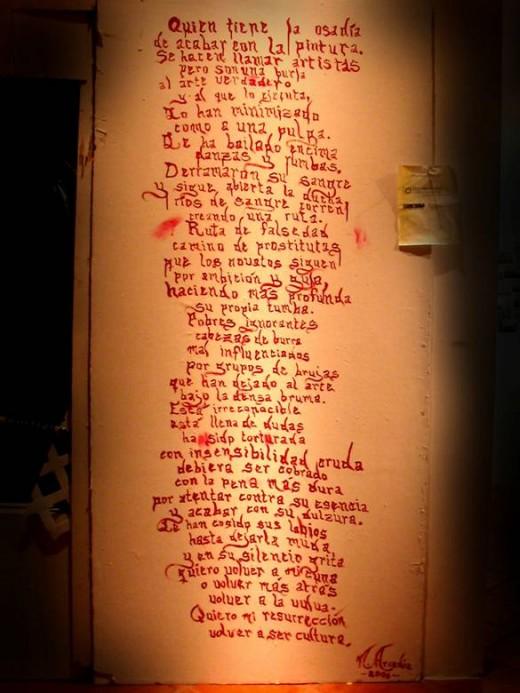 Su primera obra literaria expuesta al público fue una poesía introductoria a su obra ¿Quién mató la pintura? en 2006, Museo de las Américas Cuartel de Ballajá, Viejo San Juan. Por: Arcadia Panet