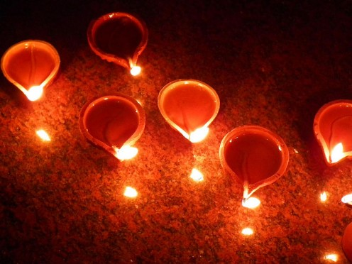 Lit Earthern Lamps Called Diyas On The Occasion Of Diwali