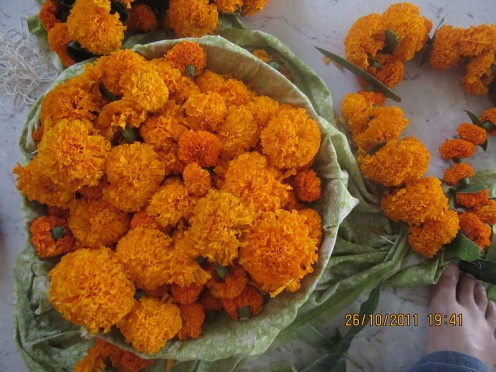 Garlands For Diwali Made Of Marigold Flowers