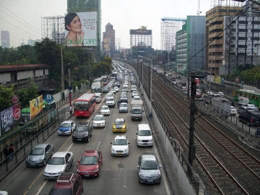 Traffic along EDSA, Manila