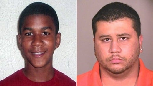 17 year old Trayvon Martin (left), 28 year old George Zimmerman, Trayvon's murderer (right)