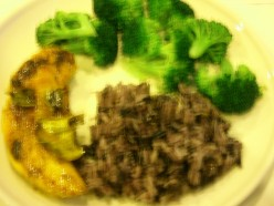 Finding it hard to count calories or measure out exact amount of food groups? I use the plate as my guide--1/2 the plate for vegetables, 1/4 the plate designated to protein and the last 1/4 to carb (preferably whole grain). I have black rice here.