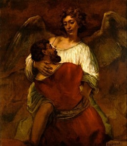"""Jacob Struggles with the Angel"" by Rembrandt"