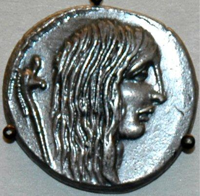 This coin depicts a Gallic captive.