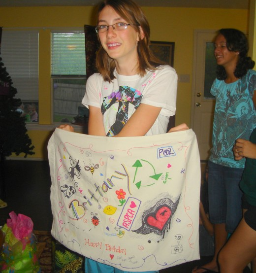 pillowcase decorated with Sharpies