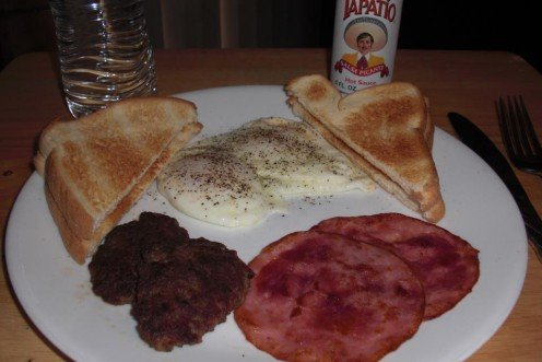 This is my easy 2-2-2-2 breakfast (2 eggs, 2 ham slices, 2 pan sausage and 2 pieces of toast)!  Easy and delicious!