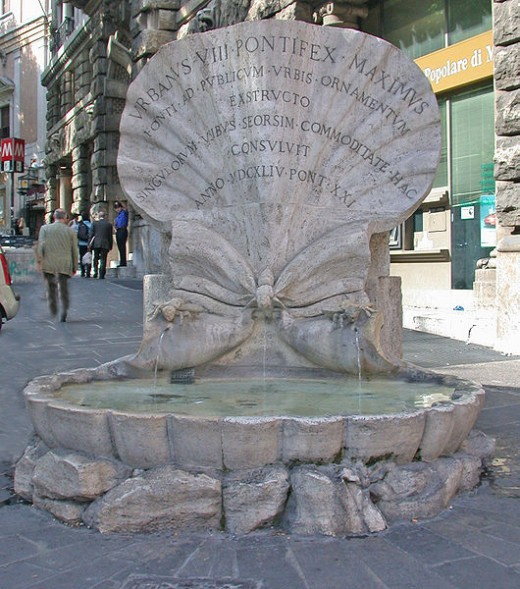 Fontana della Api is in Piazza Barberini. It was originally intened as a water-trough for horses.