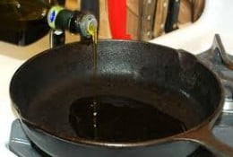 Heating oil in the skillet
