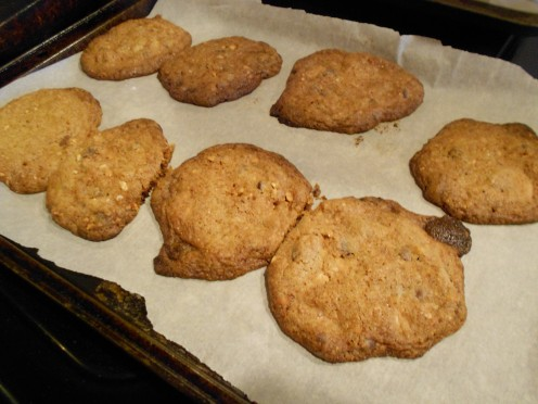 Baked cookies will be brown and  after cooling will become crispy.