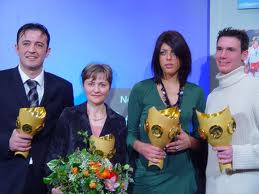 To Blanka's left is Duje Draganja, Olympic medalist in swimming.  This picture was taken in 2004.